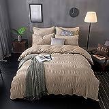 Lauson House 100% cotone tinto seersucker Set di biancheria da letto, Cotone, sabbia, 200x220+2x80x80cm