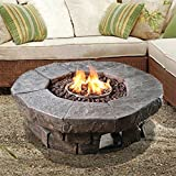 Peaktop Outdoor 36-Inch Round Gas Propane Fire Pit with Cover and Lava Rocks
