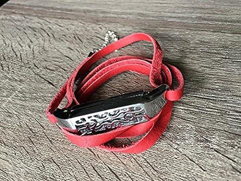 Fait à la main en cuir Rouge Bracelet pour Fitbit Flex 2tracker Taille réglable 10,2cm–19,1cm Bande avec boîtier de bijoux en argent