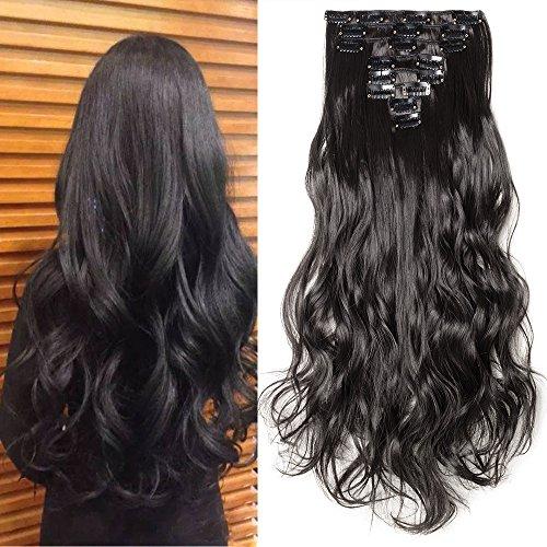 Hair Extension Capelli Clip in Estensioni 8 Fasce Full Head 42cm Capelli  Lunghi Mossi Ricci d4bafe536551