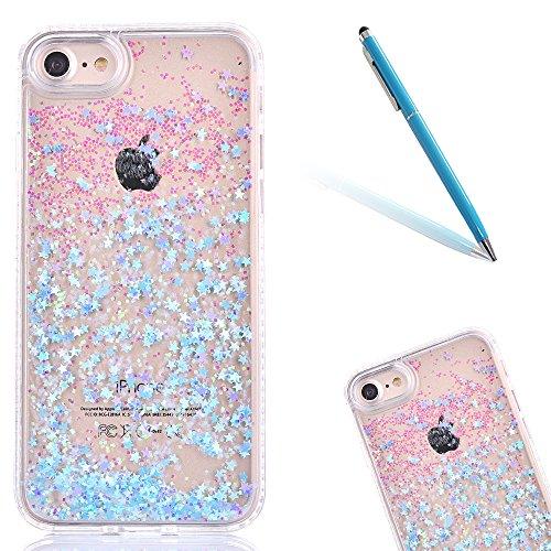 """Hülle für iPhone 6sPlus, Ultra Hybrid Klarkristall CLTPY iPhone 6Plus Shining Glitter Quicksand Schwimmenden Flüssigen Fall, TPU & PC Plastik Handytasche für 5.5"""" Apple iPhone 6Plus/6sPlus (Nicht iPho Blauer Stern"""