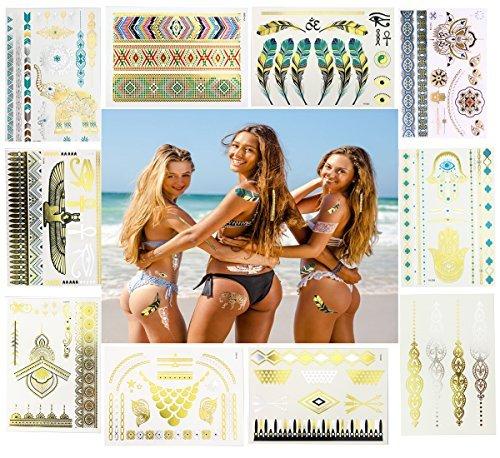 10 hojas de tatuajes de flash metálico de alta calidad. Pluma, flecha, encaje, elefante mandala, pulseras de collar, falsos tatuajes temporales para mujeres, suministros de fiesta, no tóxico, ecológico, duradero.
