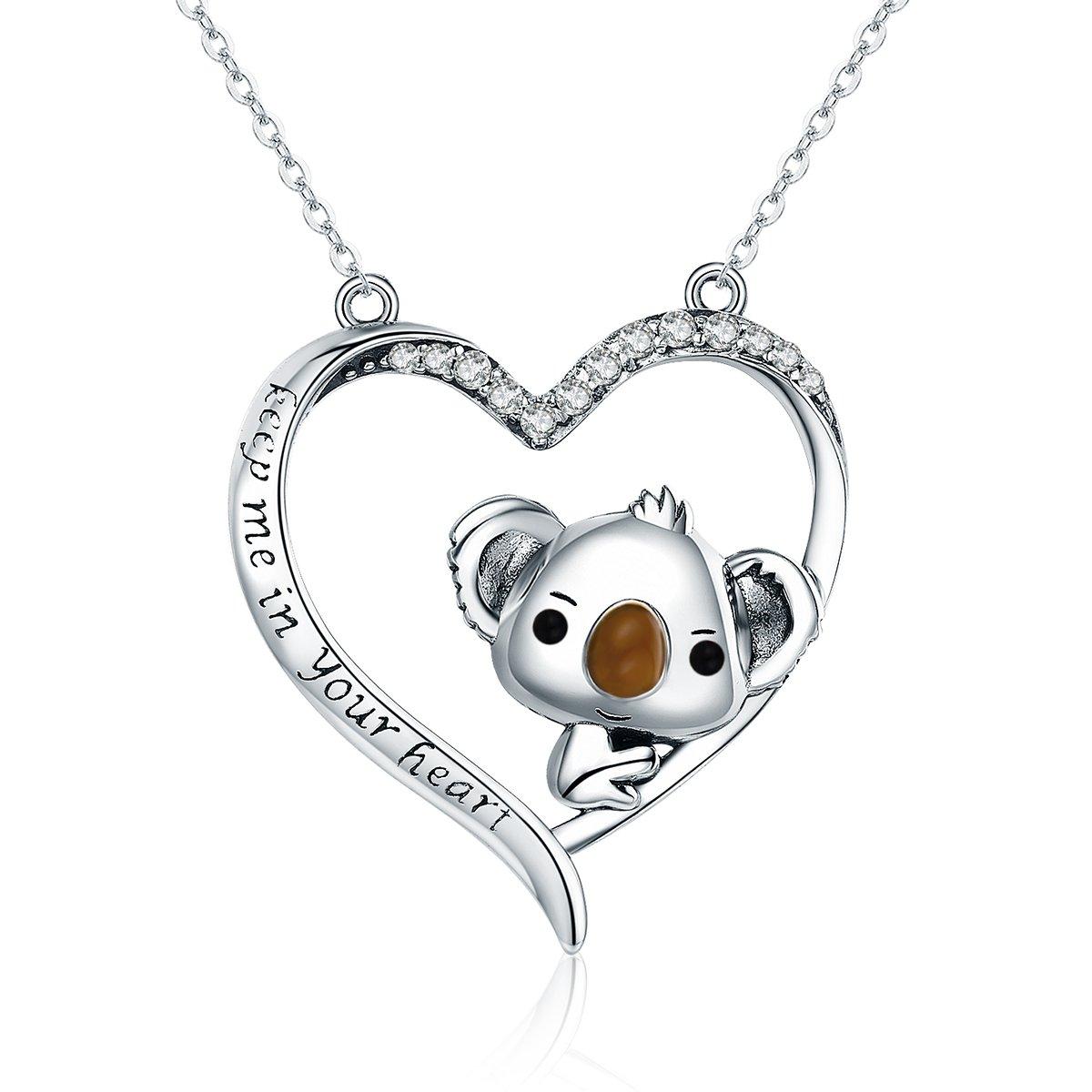 NEWL 925 Sterling Silver Lovely Koala in Heart Pendant Necklaces for Women Sterling Silver Jewelry