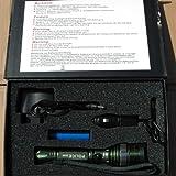 200 Lumen Luxeon Cree Q5 LED Taschenlampe grün-metallic mit 3 Funktionen und 3200mAh Akku wiederaufladbar - Set incl. Netzstecker, Auto-Ladegerät, Armschlaufe