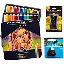 Prismacolor Quality Art Set - Premier Colored Pencils 48 Pack, Premier Pencil Sharpener 1 Pack and Latex-Free Scholar Eraser 1 Pack