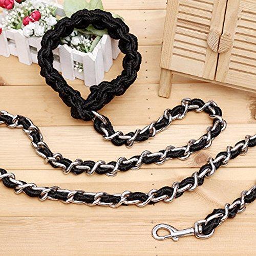 ZHANGY Hundeleine Harness Leine und Halsband Metallkette Haustierversorgung große Kettenleine Training für mittlere große Hunde gehen (5 Fuß),Black_170*6.0cm (Fuß Leder 6 Hundeleine)