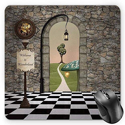 BGLKCS Alice in Wonderland Mauspads, Welcome Wonderland Black and White Floor Landscape Mushroom Lantern, Standard Size Rectangle Non-Slip Rubber Mousepad, Multicolor