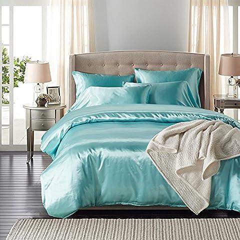 Pure Color Betten Sets–memorecool Haustierhaus silklike Satin 100% Polyester Material Standard UK Größe Single weiß, Polyester, blau (1), Twin