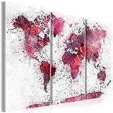decomonkey Bilder Weltkarte 120x80 cm 3 Teilig Leinwandbilder Bild auf Leinwand Vlies Wandbild Kunstdruck Wanddeko Wand Wohnzimmer Wanddekoration Deko Modern Weiß Rot Rosa Aquarell Textur