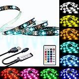 LED TV Hintergrundbeleuchtung, 6.56ft RGB flexibel, 60 LEDs, 16 Farben, USB-betriebene Lichtleiste mit IR-Steuerung, 24 Tasten, Fernbedienung für 40-60 HDTV , Computer, Hintergrund-Beleuchtungs-Kits