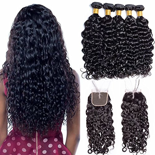 Maxine Wet And Wavy Water Wave Hair Malaysian Virgin Human Hair 3 Bundle Deals With 4x4 Middle Part Closure Natural Black 100% Unprocessed Human Hair 95-100g/pc 16 18 20 with 14