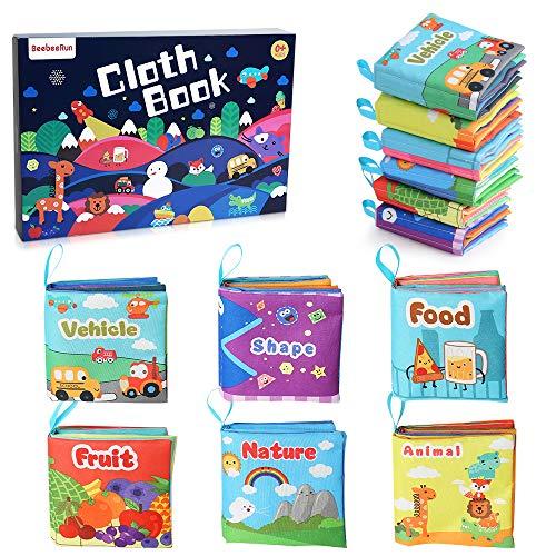 BeebeeRun Stoffbuch für Babys,6-Pack Baby Buch Baby Spielzeug Ab 0 Monaten +,Kinder Geschenk (Baby-bücher Monate 9)