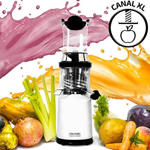 Licuadora para frutas y verduras de prensado en frío Slow Juicer, extractor de jugo con canal XL para fruta entera con velocidad lenta de 45 rpm. Tapón antigoteo. BPA Free. Incluye jarras y cepillo. Cecojuicer Compact XL de Cecotec