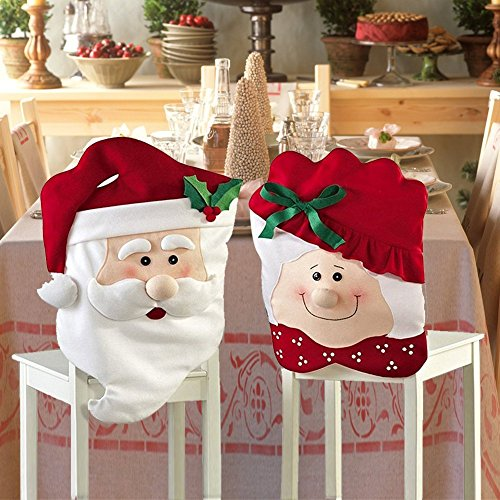 ZJchao Weihnachten Mr & Mrs Santa Claus Küchen Stuhlhussen Home Party Dekoration (Pack of 2)