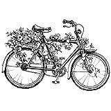 Feinkontur-Stempel | Scrapbooking, Handwerk, Heimwerk, DIY, Grußkartengestaltung (Romantik Fahrrad, 10 x 15 cm)