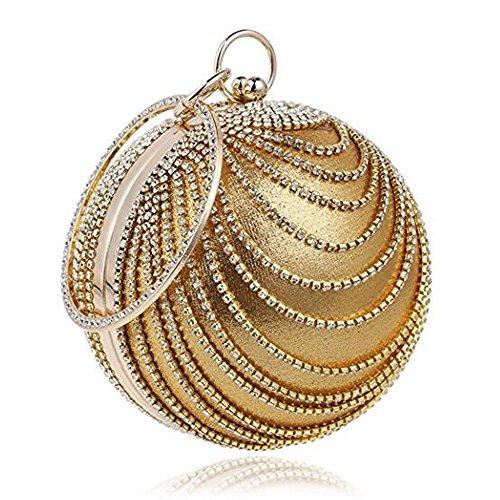 Perlen Pailletten-abend-geldbeutel (Stilvolle neue Runde-Ball Hand-Held Dinner Bag Damen Brautkleid mit Diamant Cheongsam Abend Packung (Gold))
