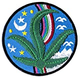 Ganja Night Aufnäher Aufbügler Patch Cannabis Hanf -Blatt Buddha Yoga Alternativ Goa Festival (Klein )