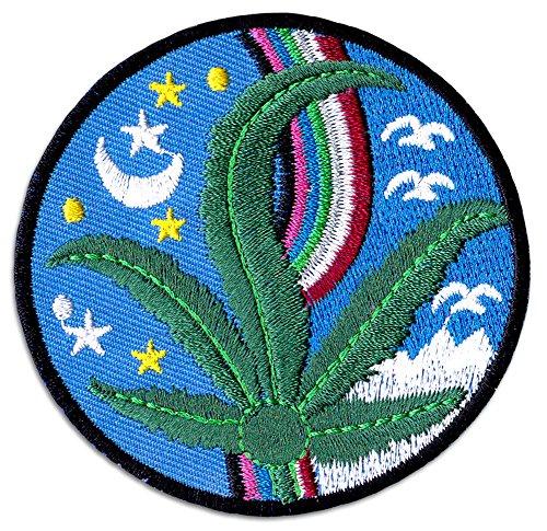 Ganja Night Aufnäher Aufbügler Patch Cannabis Hanfblatt Buddha Yoga Alternativ Goa Festival (Buddha Pfeife)