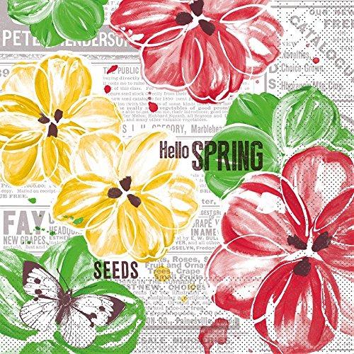 Sovie Home Tissue Serviette Hello Spring   Ideal für Ihr Frühlings Frühstück   saugstark   33x33cm   Rot Gelb   20 Stück