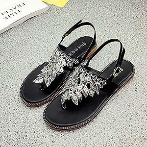 RUGAI-UE Summer Leaves Sandals Women Flat Feet Comfortable