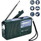 Olycism Radio AM FM NOAA Manivelle Dynamo Radio Solaire Radio Multifonction d'urgence Radio avec Lampe LED sirène batteire Portable pour randonnée Camping extérieur Cas d'urgence