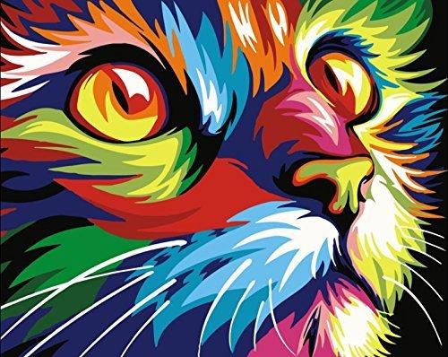 YEESAM ART Nouvelles Peinture au numero pour adulte enfants - Colored Chat Tête Coloré Cat Head Animal 40x50 cm - DIY Painting by Numbers numéro Cadeaux de noël