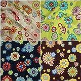 DIE NÄHZWERGE Baumwollstoff Motivkollektion Blumen [RETRO-BLUMEN/PRIL-BLUMEN] - Meterware ab 50cm in 4 Farben | 100% Baumwolle, Cotton – zum Nähen, Quilten & Patchworken (marine)