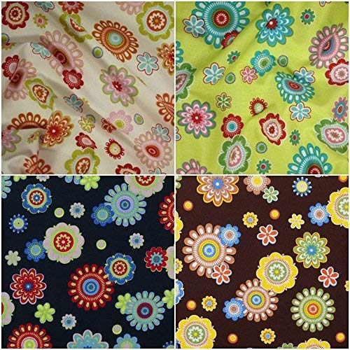 DIE NÄHZWERGE Baumwollstoff Motivkollektion Blumen [RETRO-BLUMEN/PRIL-BLUMEN] - Meterware ab 50cm in 4 Farben | 100% Baumwolle, Cotton - zum Nähen, Quilten & Patchworken (creme) -