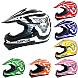Leopard LEO-X17 KIDS MOTOCROSS HELME Kinder Quadhelm Kids Dirt Bike Crash Helm Schwarz M (51-52cm)