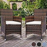 Miadomodo Polyrattan Gartenmöbel Rattanmöbel Stühle in 2er-Set und in der Farbe nach Ihrer Wahl (Braun)
