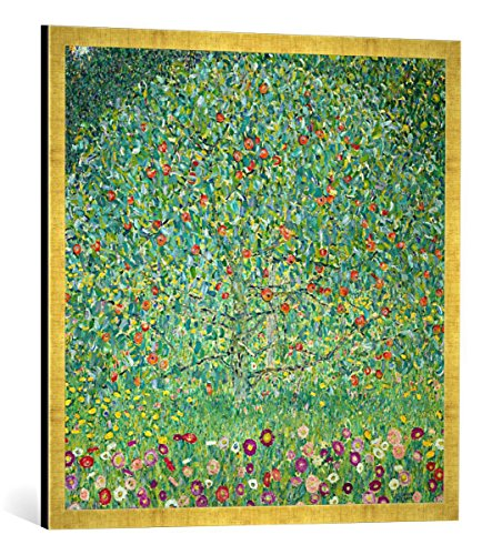Gerahmtes Bild von Gustav Klimt Apfelbaum I, Kunstdruck im hochwertigen handgefertigten Bilder-Rahmen, 70x70 cm, Gold Raya -