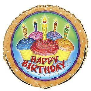 Globo de la hoja feliz cumpleaños con magdalenas de colores con motivos de impresión y velas, redonda, para el cumpleaños