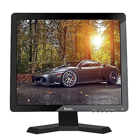 Eyoyo Écran 15 pouces 4:3 Moniteur LCD TFT Couleur 1024 x 768 1080P CCTV HDMI HD avec Sortie écouteur BNC VGA AV HDMI USB et de haut-parleur intégré