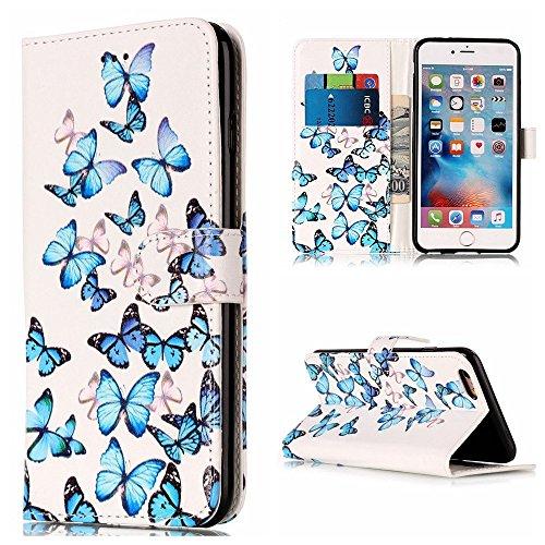 iPod Touch 5 Hülle,iPod Touch 6 Hülle, Edaroo Blau Schmetterlinge Muster Dünn PU Leder Bookstyle Kunstleder Schutzhülle Handytasche Magnetverschluss Kartenfach für iPod Touch 6/5 (Disney Ipod Touch)
