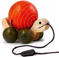 Maya Organic Wooden Pull Toy With Rotating Ball - Tuttu Turtle (Orange)