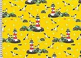 Swafing Baumwoll-Jersey DIY Stoff Meterware Verschiedene Muster/Designs (50 x 155 cm, Leuchtturm/Möwen)