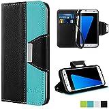 Coque Galaxy S7 Edge, Vakoo Etui [book-style] PU Cuir Case Cover Housse pour Samsung Galaxy S7 Edge (Noir Bleu)