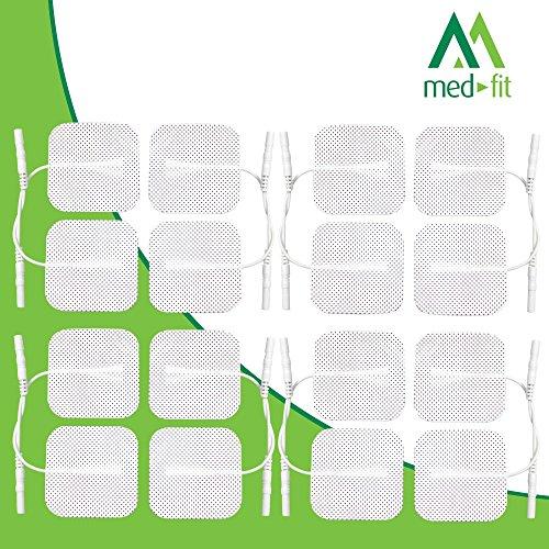 Electrodos para electroestimuladores Med-Fit, Prorelax Axion,Tenscare Saneo 16 Electrodos de duración de la más alta calidad 5cm x 5cm- Adecuado para todas las decenas con conectores de 2 mm.