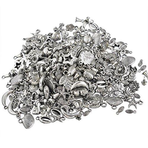 Souarts Schmuckteile Gemischte Acrylperlen Spacer Beads Kugel Schmuckperlen Zubehoer Zum Basteln Antiksilber Farbe 100g