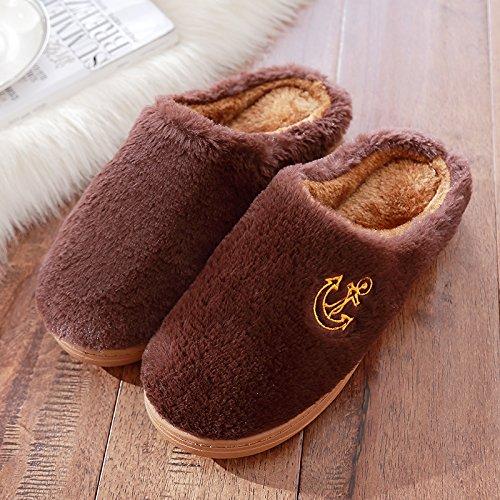 DogHaccd pantofole,Uomini Donne pantofole di peluche home pantofole di cotone spessore invernale caldo inverno carino pantofole Il caffè4