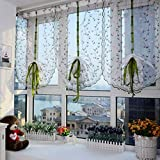 1pcs Roman Curtains Floral Purple Flowers Embroidery Sheer Shade Windows Curtain