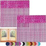 Bestlivings Fadenvorhang 2er Pack Gardine Raumteiler, Auswahl: 90x240 Pink - Neon Pink