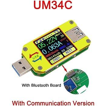 USB Last UM34//UM34C Spannung Strommessung Typ C Meter USB3.0 Farbbildschirm Tester Digital LCD Farbanzeige Tester Tester Kabel Strom Spannung Widerstand Kapazit/ät Akozon USB Tester UM34C