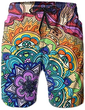 Colorful Animal Mandala Men's/Boys Casual Quick-Drying Bath Suits Elastic Waist Beach Pants with Pockets
