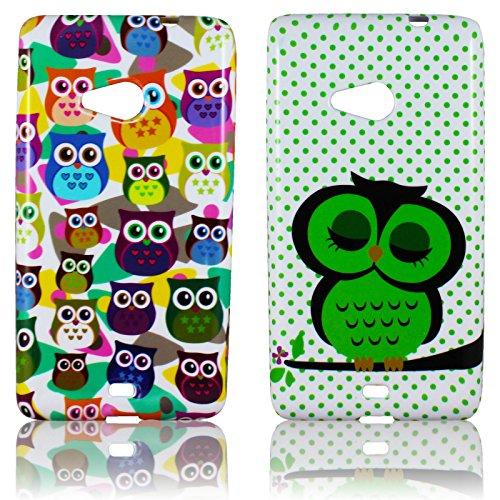 Microsoft Lumia 535 Silikon-Hülle 2x SET Süße Eule weiche Tasche Cover Case Bumper Etui Flip smartphone handy backcover thematys®