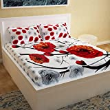 Story@Home 3D Printed Bedsheet for Double Bed Cotton with 2 Pillow Covers Combo for Queen Size Bed - Picasso Series, 152 TC, Floral (Red - White)