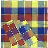 4 pcs servilletas de tela de algodón, 40 x 40 cm, de colour amarillo y de colour azul y verde, de cuadrícula, gracias a su diseño de rayas