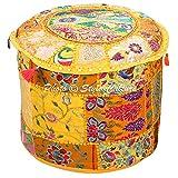 Stylo Culture Ottoman Pouffe Bench Stoff Hocker Cover Gelb Ethnische Bestickt Patchwork Cotton Traditional Runde Hocker Ottoman Cover (18x18x13 Zoll) 45cm