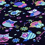NOVELY Oxford Polyester Stoff Eule Navy Pink