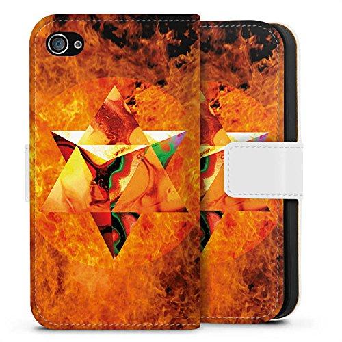 Apple iPhone X Silikon Hülle Case Schutzhülle Feuer Geometrisch Kollage Sideflip Tasche weiß
